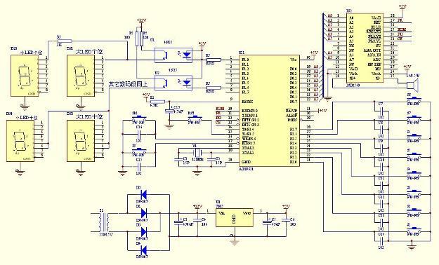 外围电路非常简单,但是功能不比一般的抢答器少