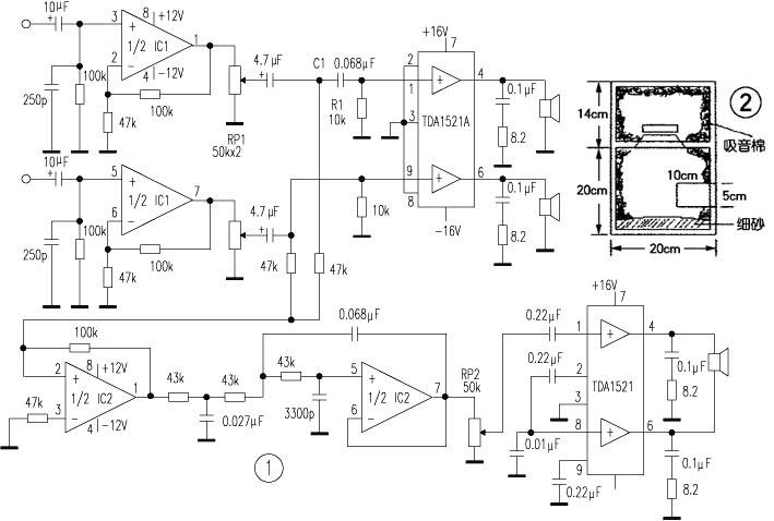 电路设计   如图1,左右声道由一只双运放作线路放大