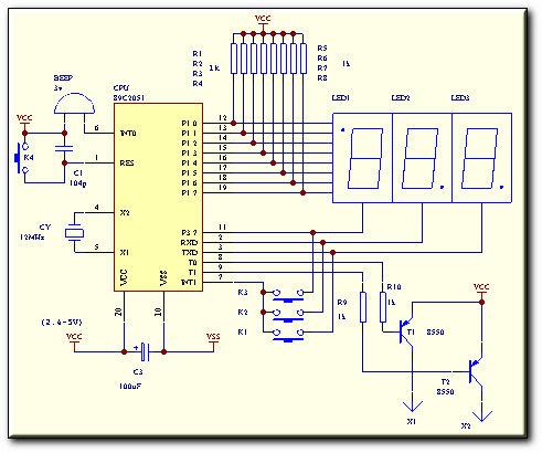 独立的三路输出: a:第1路 蜂鸣器输出: 15s b:第2路 pnp晶体管输出:5s